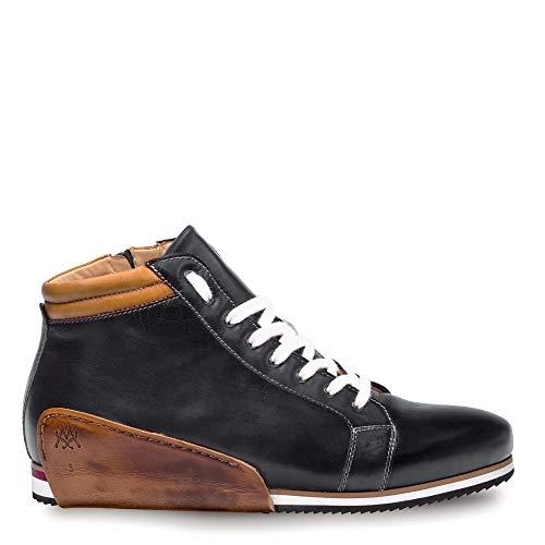 Mezlan NIRO Mens Hybrid Dress/Casual Hi-Top Sneaker - Hand-Stained Italian Calfskin - Handcrafted in Spain - Medium Width (8.5, Black/Tan) (Spiked Dress Shoes Men)