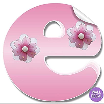 Amazon wall letters e pink flower letter stickers alphabet wall letters quotequot pink flower letter stickers alphabet initial vinyl sticker kids decals mightylinksfo
