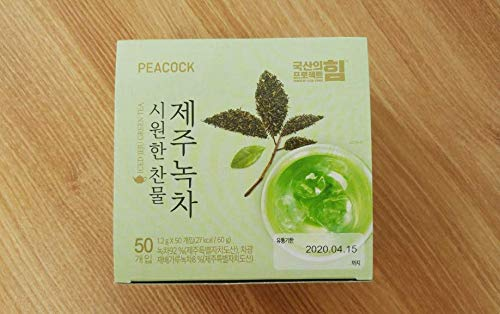 PEACOCK Jeju Organic Pure Green Tea for Cold Water, 50 Count