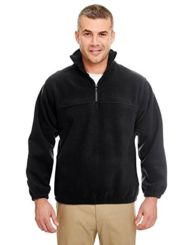 (UltraClub 8480 Iceberg Fleece Zip Pullover Black Large)