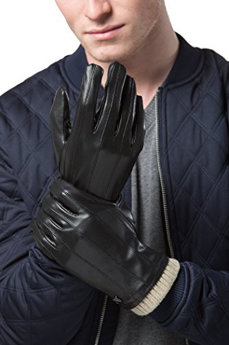 Glove Striped Leather (Gallery Seven Mens Faux Leather Warm Winter Gloves - Touch Screen Texting Glove - Gift Wrapped - Black Lofty Wide Striped - Large)