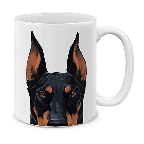 MUGBREW Black Rust Doberman Pinscher Dog White Ceramic Coffee Mug Tea Cup, 11 OZ ()