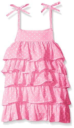 U.S. Polo Assn. Little Girls Dotted Swiss Tiered Sundress, Prism Pink, 6X (Dotted Pink Dress)