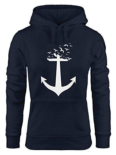 ausgefallener Hoodie für Damen, Anker Vögel Anchor Birds, Sweatshirt Kapuze Kapuzenpullover Moonworks® navy XL