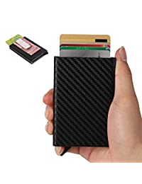 Tarasun RFID Blocking Card Holder/Case for Men, Money Clip, Carbon Fiber PU Leather, RFID Pop-Up Card Holder, Slim, Minimalist Wallet, Lightweight Aluminum/Metal Credit Card Holder, for Front Pocket