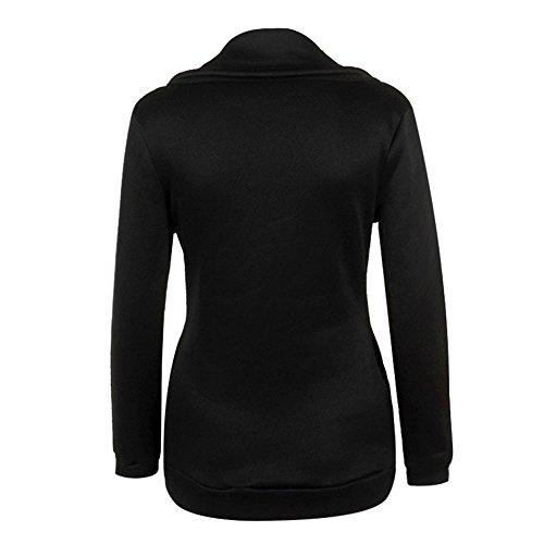 Femmes Noir Hoodie Pull Zipper LHWY capuche Jacket Blouse Winter Sweat ZwqRzxdAf
