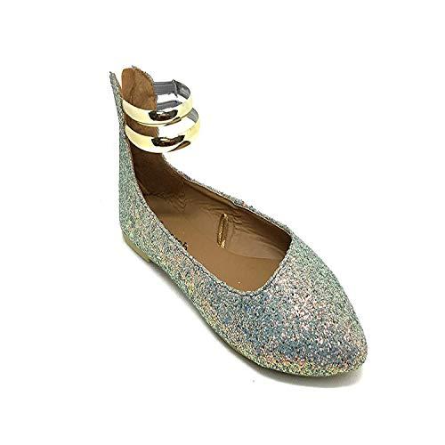 Susan 18 Ballerina Flats for Women; Women's Ballet Flats with Gold Straps ()