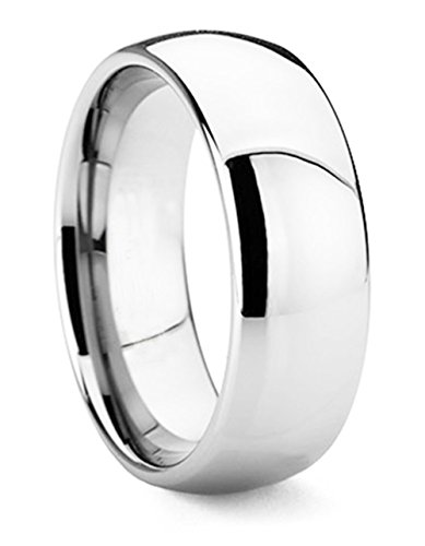 Ring Titanium Band Comfort (King Will BASIC Men's 8mm Classic High Polished Comfort Fit Domed Tungsten Metal Ring Wedding Band(10))