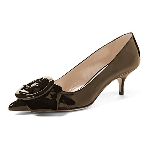 FSJ Women Classic Pointy Toe Pumps Patent Slip On Kitten Low Heel Dress Shoes With Buckle Size 8 Dark Brown