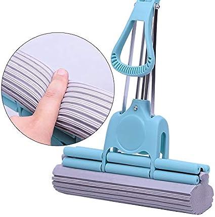 Leekerry Mop blu a doppio rullo con testina assorbente in spugna di PVA e palo telescopico extra lungo in acciaio inossidabile 43,3 pollici o 57,1 pollici