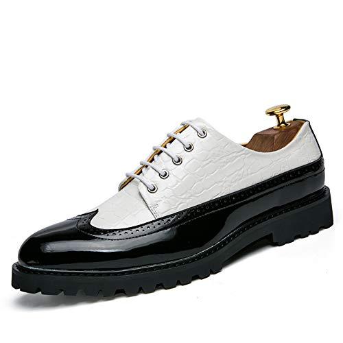 prueba negocios agua Hombre cuero de Oxford a zapatos cómodos charol tamaño Blanco Piel Zapatos de los Brogue de personalidad la hombres cocodrilo de 2018 de Color Ocasionales 43 de Negro EU T5wYq58