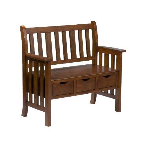 Southern Enterprises 3-Drawer Storage Entryway Bench, Country Oak Finish (Mdf Oak Table)