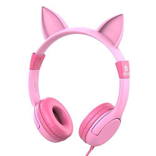 iClever Kids Headphones, Cat-inspired Wired On-Ear Headsets with 85dB Volume Limited, Food Grade Silicone (Kids-friendly), 3.5mm Audio Jack, Children Headphones for Kids, Pink
