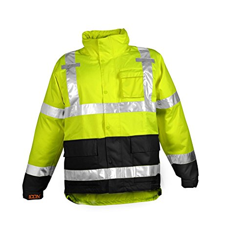 ICON J24122.XL Breathable 300D Polyurethane Hi-Vis Jacket with Reflective Tape, X-Large, Flourescent Yellow/Green