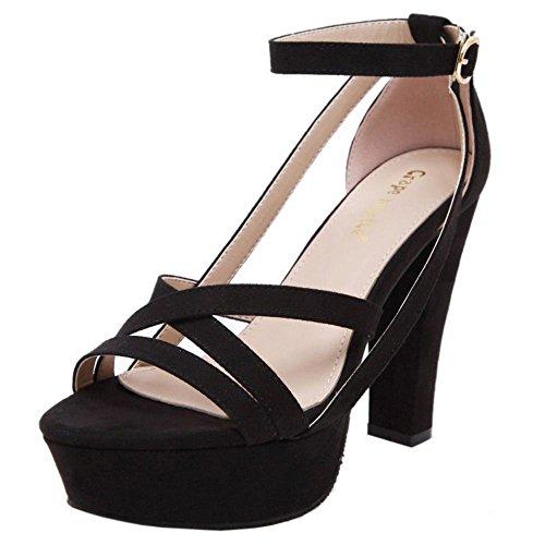 COOLCEPT Mujer Verano Moda Clasico Punta Abiertas Hebilla Vestir Heeled Sandalias Negro