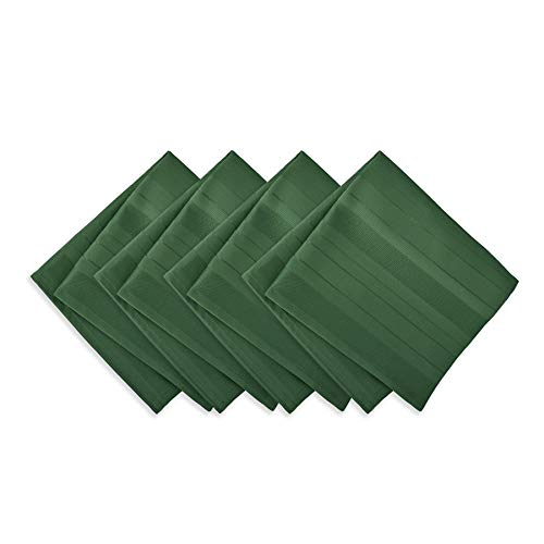 Newbridge Satin Stripe No-Iron Soil Resistant Fabric Tablecloth - Set of 4 Napkins, Hunter Green