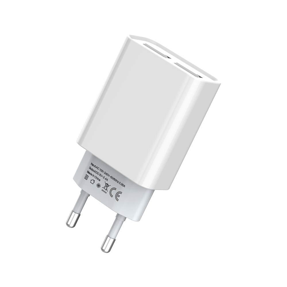 BONAI Cargador de Pared USB, Adaptador Universal Portátil Enchufes 5V 2A USB Cargador de móvil de Travel de Carga Rápida - Blanco