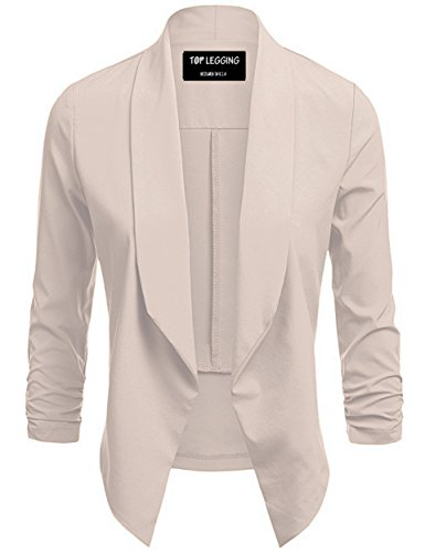 TOP LEGGING TL Women's Business Attire Work Office Solid Color Versatile Jacket Blazers J37_Beige XL by TOP LEGGING