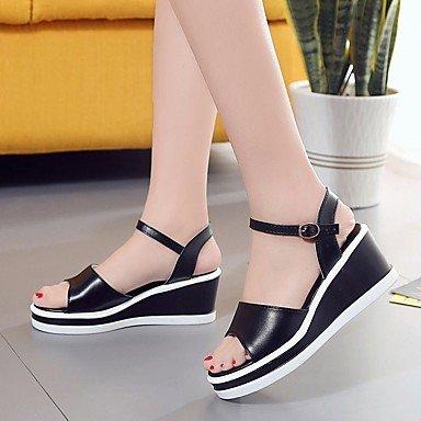 RUGAI-UE Moda de Verano Mujer sandalias casuales zapatos de tacones PU Confort pasear al aire libre,Plata,US5 / UE35 / UK3 / CN34 Black