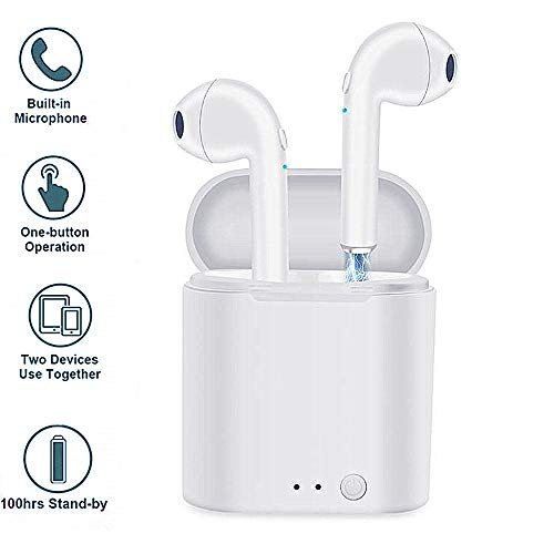 Wireless Earbuds, Wireless Headphones Bluetooth Earbuds Earphone Stereo Mini in - Ear Mic Earpieces with Portable Charging case for iPhone X 8 8 Plus 7 7Plus Samsung Galaxy S7 S8 iOS Android (White)