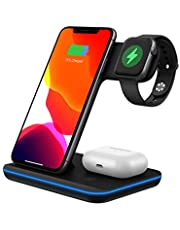 Wireless Charger 3 in 1 Wireless Charging Station Z5A 15W for Apple Watch, AirPods Pro/2, QI certification Magnetic Wireless Charging Stand for iPhone 11 Pro Max/X/XS/XR/8Plus(Black)
