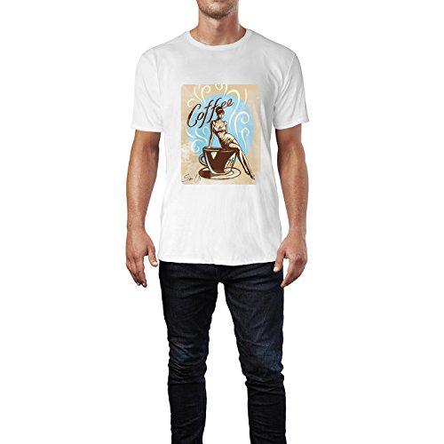 SINUS ART® Vintagebild mit Frau und Kaffetasse Herren T-Shirts in Weiss Fun Shirt mit tollen Aufdruck