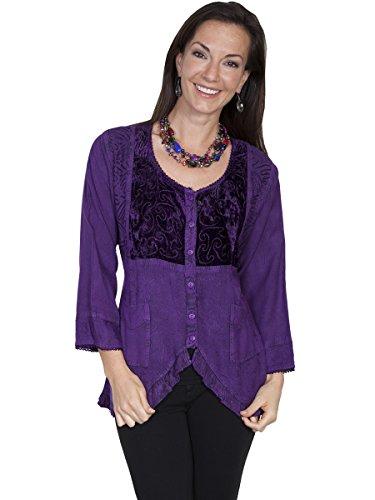 Scully Women's Honey Creek Eva Velvet Front Blouse, Purple, LG
