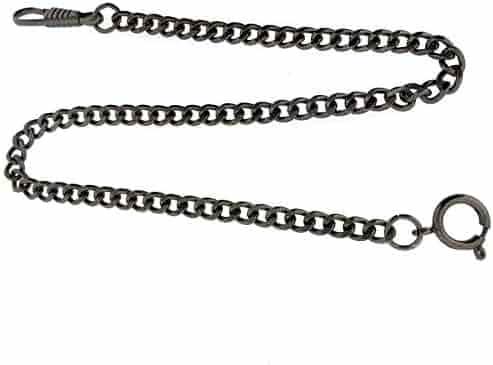 Pocket Watch Chain Fob Curb Link Design Gunmetal-Tone 14