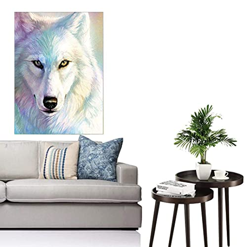 DIY 5D Diamond Painting Kits for Adults, White Wolf Full Drill Diamond Crystal Rhinestone Embroidery Arts Craft Canvas Wall Decor 12x16 inches