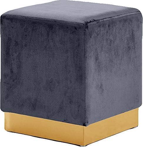 Meridian Furniture Jax Collection Modern   Contemporary Velvet Upholstered Ottoman/Stool