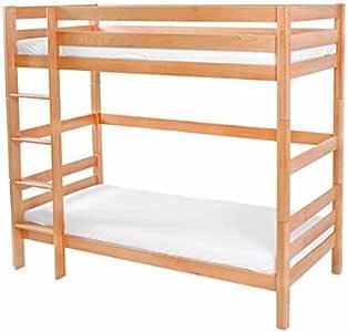 Niños litera cama incluye Base de listones de madera de haya maciza madera, divisible, se puede acoplar escalera izquierda/derecha, Litera 90 x 200 cama doble Kid Juego de cama cuna para niños