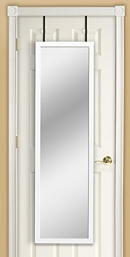 Mirrotek DM1448WT Over The Door Mirror, White (Full Wall White Length Mirror)