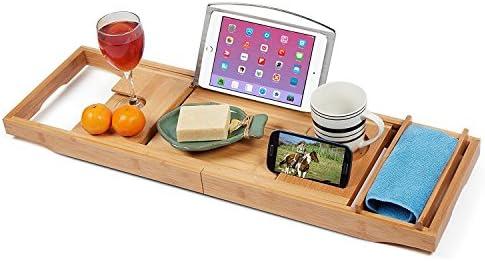 [スポンサー プロダクト]12-in-1機能、ノンスリップグリップ、無料ソープディッシュ付きの竹製バスタブキャディトレイ| ワイングラスホルダー、読書棚| 木製棚、iPadスタンド| スパ浴槽トレイ