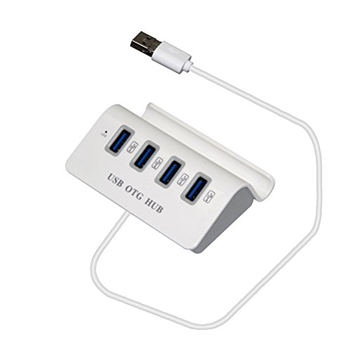 Portable Clip-on Metal USB/Micro-USB 4-Port Hub Adapter (White) ()