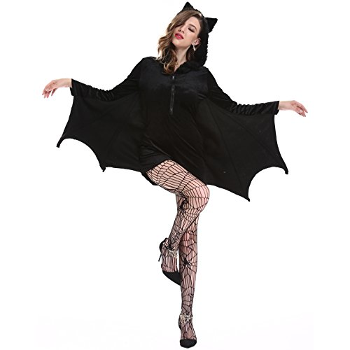 YESBOR Women's Cozy Vampire Bat Halloween Costume Dress up XXL -