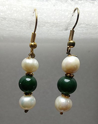 Crystalworld Aldomin Natural Freshwater White Pearls with Green Aventurine Beads Earrings