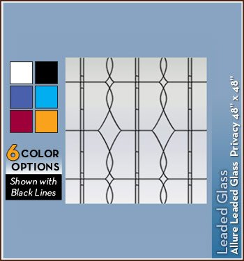 Allure Leaded Glass Black Privacy Static Cling Window Film - 48 in x 48 in