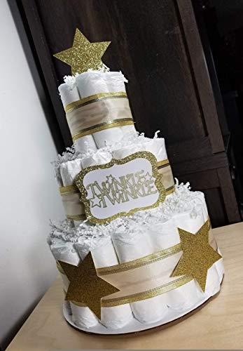 Twinkle Twinkle Gold/Silver/Navy and White Neutral Diaper Cake