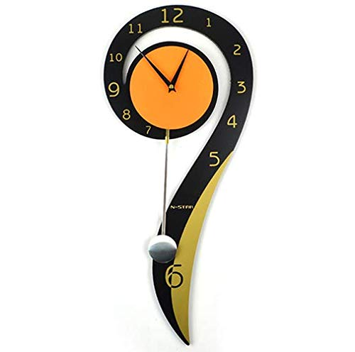 YZ-YUAN Clock Wall Clock Question Mark Garden Creative Mute Swing Clock Fashion Living Room Hanging Table Personalized Wall Clock Decoration Suitable Garden Kitchen Bathroom More