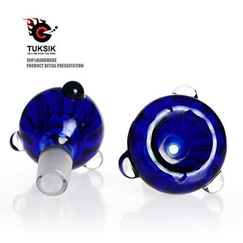 Tuksik 2 Pack Glass Herb Holder Bowl Blue Glass Holder 14mm (Blue)