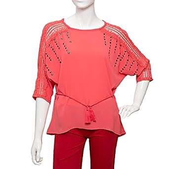 Parkhande Orange Polyester Round Neck Blouse For Women