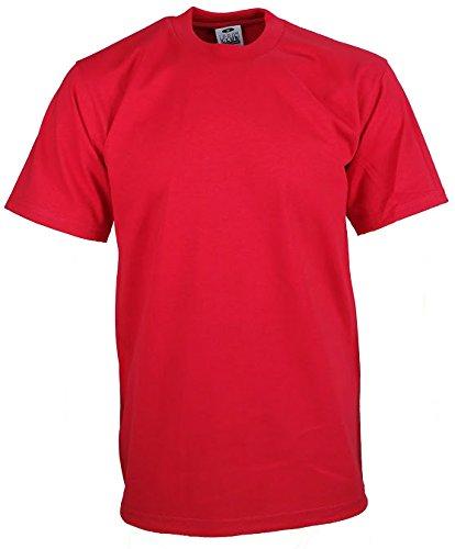 (Men's Proclub Heavy Weight Solid Crewneck Short Sleeve Shirts Red 4XL)