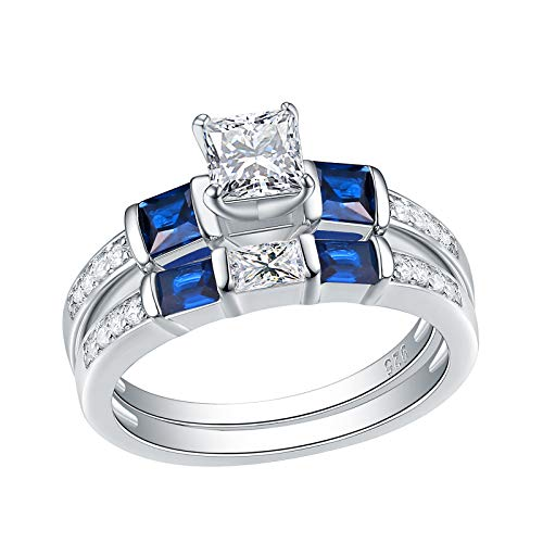 Wuziwen Engagement Wedding Rings Set for Women Created Blue Sapphire Cz Sterling Silver Size ()