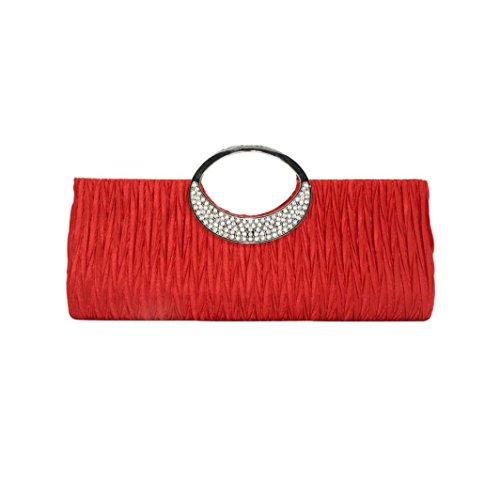 Moda Bolsos para Mujer, WINWINTOM Casual Bolsos de Totes Mano, Dama Mujer Elegante Noche Boda Bolso Embrague Diamante de Imitación Satín Plisado Bolsos rojo