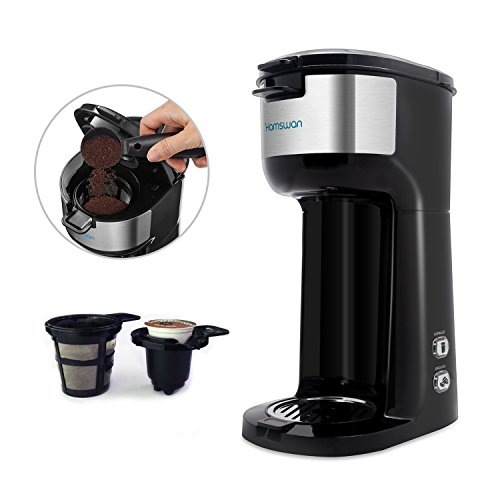 HAMSWAN CM-1177B Coffee Maker Ground Coffee and Coffee Capsules 2 in 1 Coffee Machine Automatic Cleaning Quick Brewing (Black)