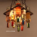 Loft Industrial Wind Restaurant Coffee Bar Decorative Stained Glass Wine Pendant Chandelier, 30cm x 30cm
