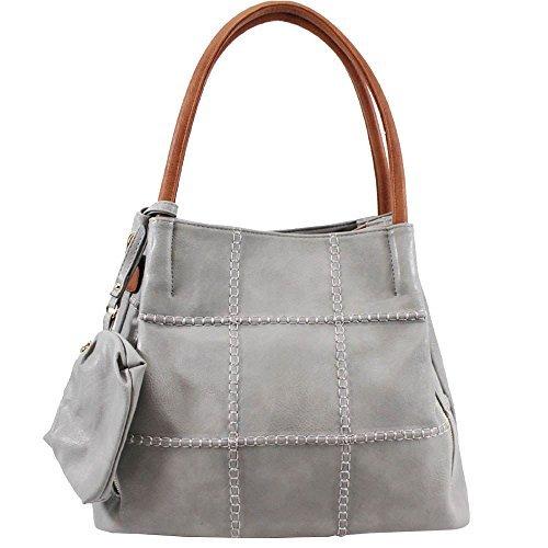 Haute für Diva S NEU Stick Detail zweifarbig Kunstleder Damen Schultertasche mit Geldbörse - grau, Large grau