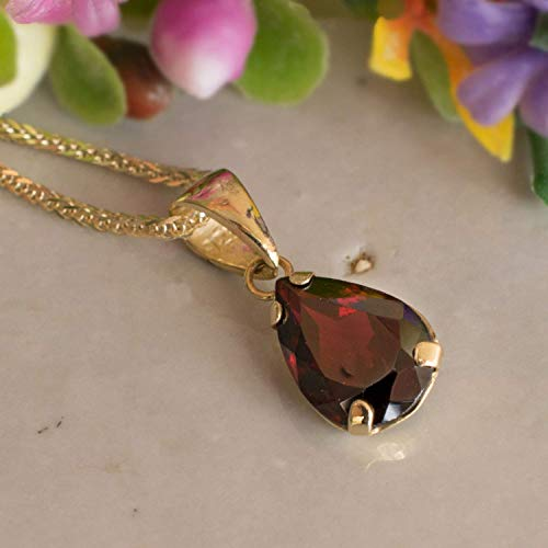 14K Gold Garnet Teardrop Necklace - 14K Solid Yellow Gold Dainty Pear Shape Pendant, January Birthstone 7x10mm Dark Red Natural Real Genuine Garnet Gemstone, Perfect Handmade Gift for Classy Women ()
