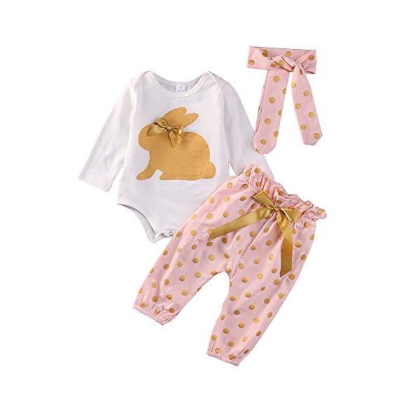 SCFEL Neonata appena nata del bambino Coniglio Stampa pagliaccetto + Dot pantaloni + fascia che coprono le Outfits 5