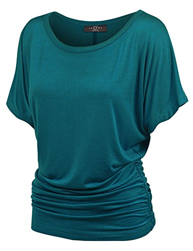 Made By Johnny WT817 Womens Dolman Drape Top with Side Shirring XXL Teal